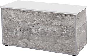 WILMES Truhe mit Klappe, Spanplatte Melamin beschichtet, Beton Dekor, 84 x 42 x 46.5 cm