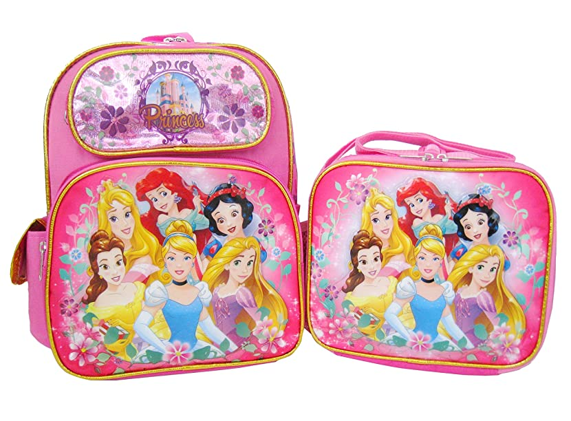 Disney Princess 12 inch Backpack and Lunch Box - Pink/Gold