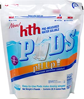 hth 67051 Pre-Measured Water Soluble Pool Chemical Pods, pH Up, 8