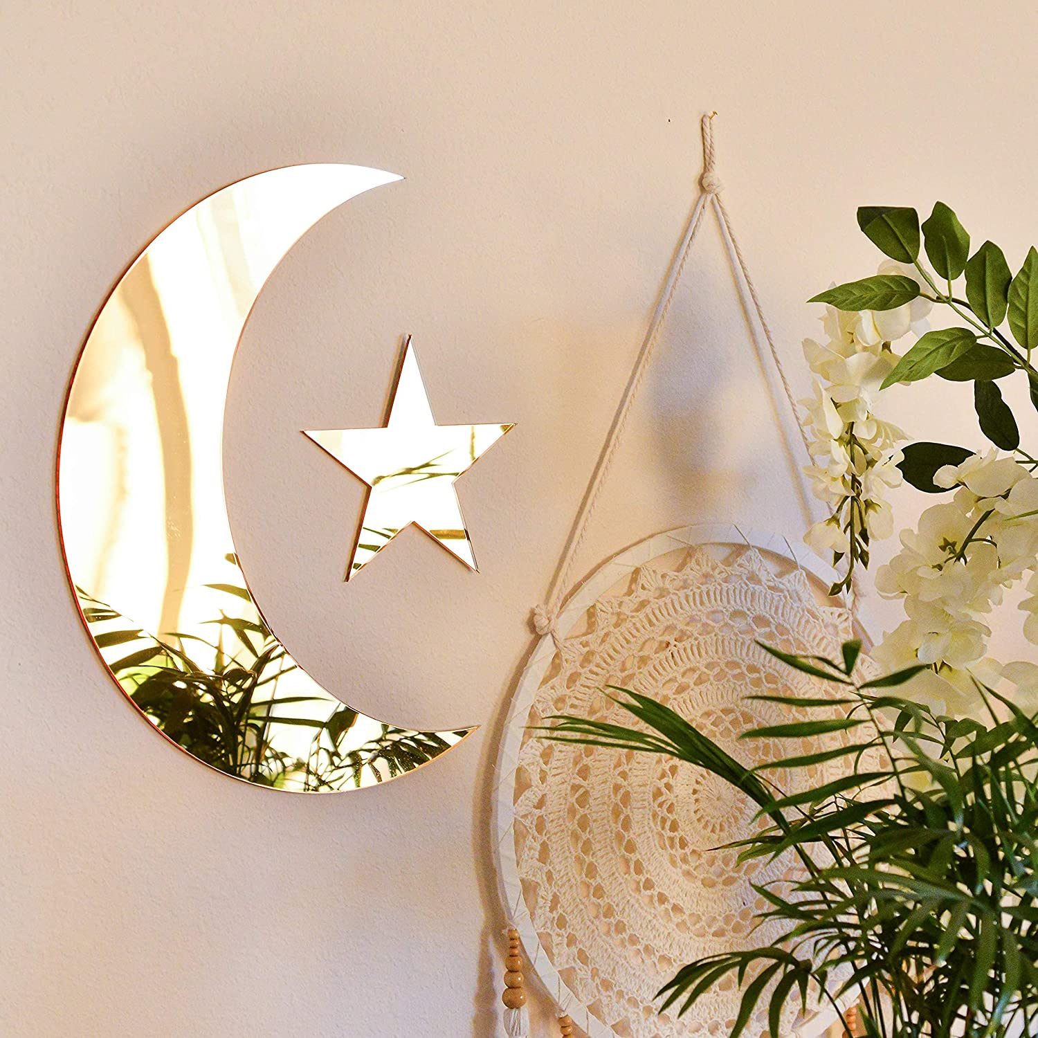 Crescent Acrylic Moon Max 64% OFF Mirror and Boho Star price Aesth