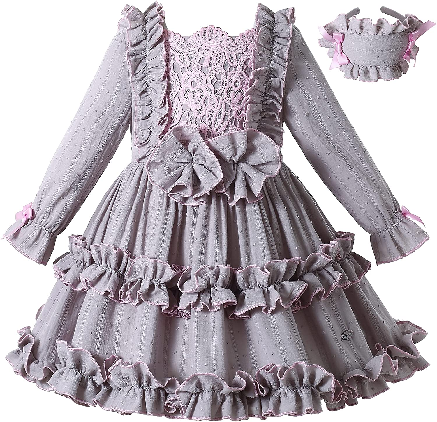 Pettigirl Girls Teens Vintage Gray Ruffle Winter Clothes Kids Lovely Special Occasion Dresses Outfit