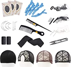 Wig Making Value Kit I J C Shape Needles Weaving Thread T-Pin Needle Wig Combs Clips Sewing Scissors Hair Comb Styling Hair Clips Elastic Spool Elastic Bands Dome Cap Middle Part Rose Lace Wig Caps
