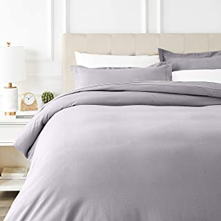 AmazonBasics Everyday Flannel Duvet Cover and 2 Pillow Sham Set - Full or Queen, Grey