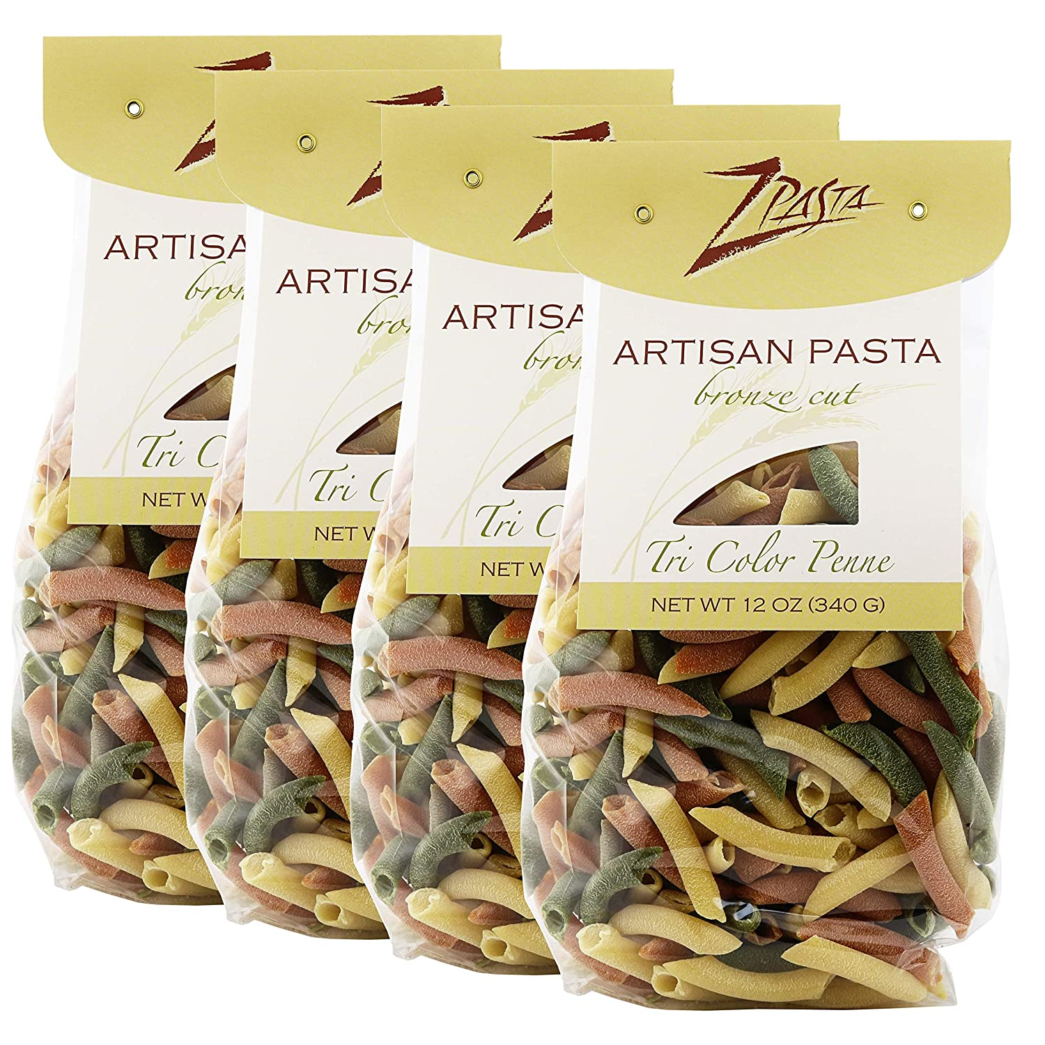 ZPasta Tri Color Penne - Limited Special Price Bronze Cut Max 64% OFF Pasta oz Artisan 12 Pack 4