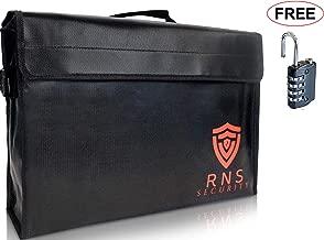Fireproof document Bags-Large Fire Proof Lock Box-Portable Safe-Locking Documents Bag Organizer Waterproof Money Holder 17.5x12x5 Heat Retardant Water Explosion Resistant Cash Boxes Lipo Pouch LockBox