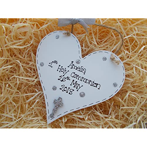 First Holy Communion Gift Personalised Boy Girl Plaque Wooden Heart Sign