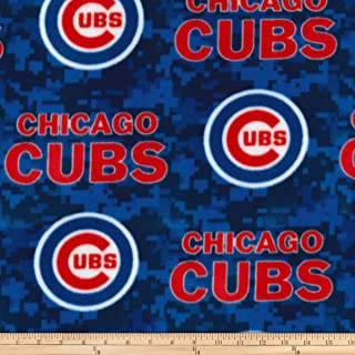Fabric Traditions Blue/Red MLB Fleece Chicago Cubs Fabric by The Yard