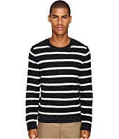 Vince - Textured Striped Merino Blend Long Sleeve Crew Neck Sweater