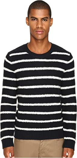 Vince - Textured Striped Merino Blend Long Sleeve Crew Neck Sweater