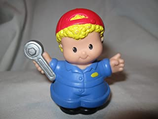 Fisher Price Little People RARE Blonde Curly Hair Mechanic Car Wash Garage Tow Truck Driver Dad OOP 2003