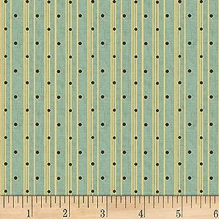 Henry Glass Sage & Sea Glass Polka Dot Ticking Stripe Blue, Fabric by the Yard