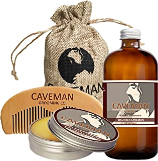 Caveman Beard Care Set for Men, Natural, Beard Oil, Beard Balm Butter Wax, Beard Comb, Conditioning Oil, Beard Growth Kit (Bay Rum 1oz)