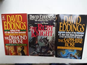 The Elenium trilogy: The Diamond Throne(1989)/ The Ruby Knight (1991)/ The Sapphire Rose(1992).