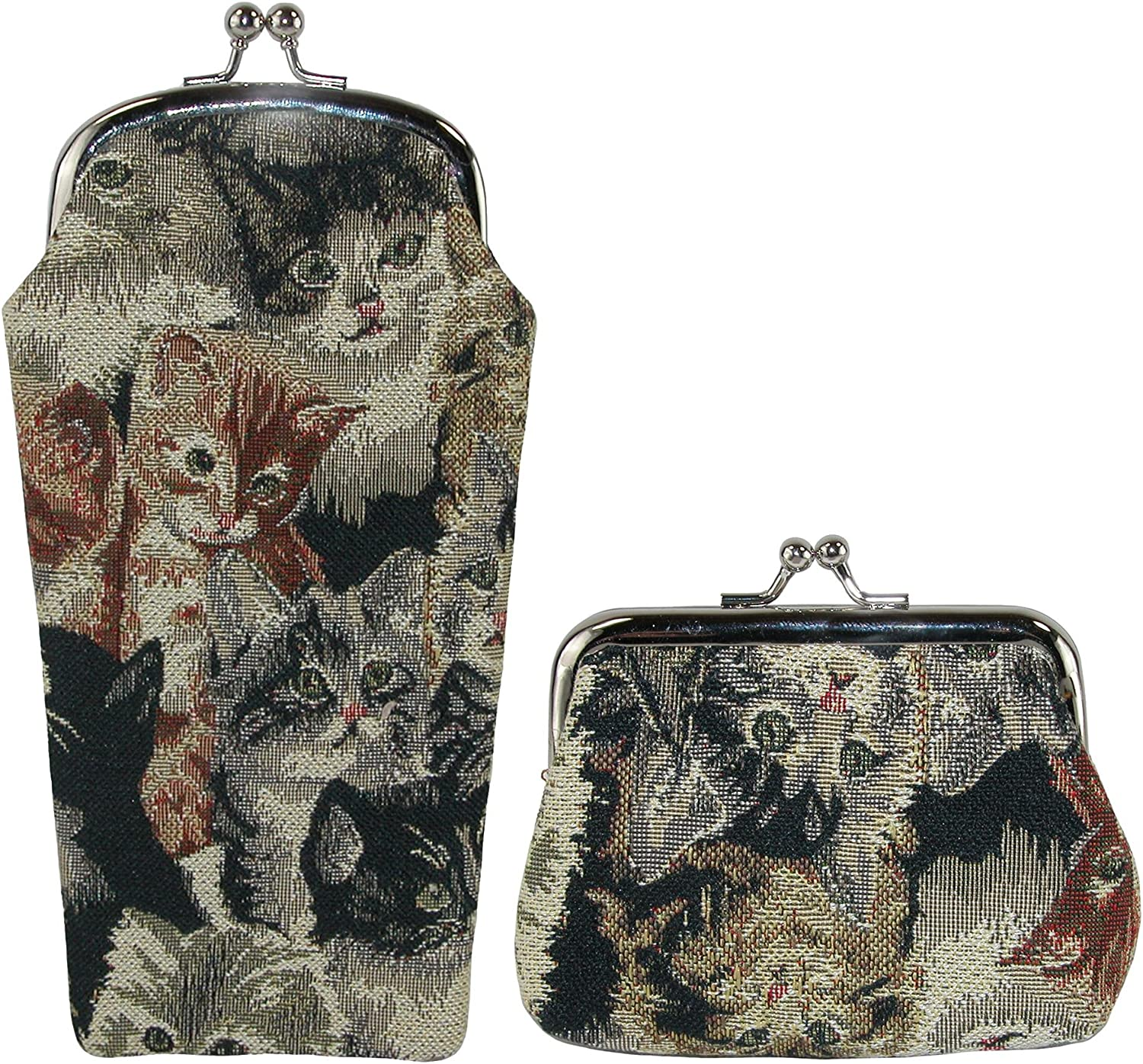 CTM OFFer Women's Cat Print Tapestry Glasses Case Coin and Set Purse online shopping