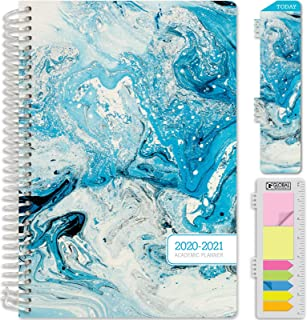 """HARDCOVER Academic Year 2020-2021 Planner: (June 2020 Through July 2021) 5.5""""x8"""" Daily Weekly Monthly Planner Yearly Agenda. Bonus Bookmark, Pocket Folder and Sticky Note Set (Blue Marble)"""