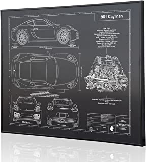 Porsche 981 Cayman Blueprint Artwork-Laser Marked & Personalized-The Perfect Porsche Gifts