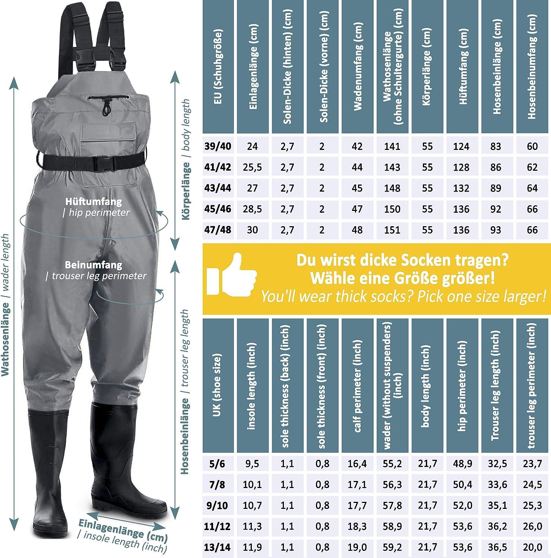 Trampolieri Impermeabili e Traspiranti con Stivali e Ginocchiere in Neoprene Perfetti Come Pantaloni da Pesca//Wader//Pantaloni da Stagno per Uomini 1 Paio di Calze Termiche