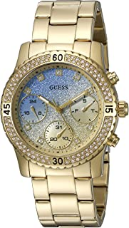 GUESS Women's U0774L2 Sporty Gold-Tone Watch with Blue Dial , Crystal-Accented Bezel and Stainless Steel Pilot Buckle