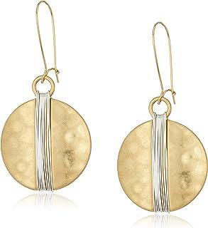 Robert Lee Morris Womens Two-Tone Wire Wrap Sharp Hook Earrings