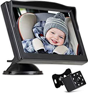 """Baby Car Monitor, 5"""" HD Display, #Mirror Hack, Stable Wide Angle Camera To Safely View Your Baby. Military Grade Night Vis..."""