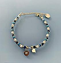 Bracciale Lapis Lazuli e venti rosa, braccialetto donna gourmet pietre naturali magiche e perline heishi 24k