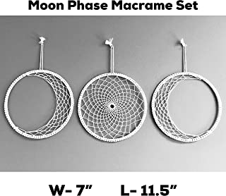 Moon Phase Macrame Wall Hanging- Boho Wall Decor - Bohemiam Hippie Chic Tapestry- Boho Wall Art for Bedroom, Home, Apartment- Geometric Woven Macrame Wall Decoration- L- 11.5