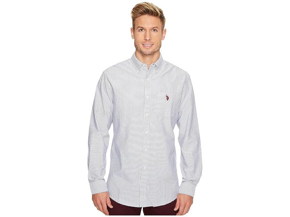 U.S. POLO ASSN. Classic Fit Stripe, Plaid or Print Long Sleeve Sport Shirt (Marina Blue) Men's Clothing