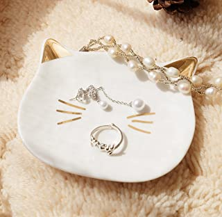 PUDDING CABIN Mini Kitty Cat Ring Dish Jewelry Trinket Tray