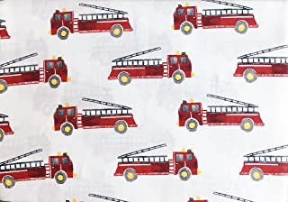 Red Fire Trucks Engines on White, Rugged Bear 3 Piece Twin Size Single Bed Cotton Sheet Set