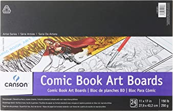 Canson Comic Book Art Boards Pad with Preprinted, Non-Reproducible, Blue Lines, 150 Pound, 11 x 17 Inch, 24 Sheets