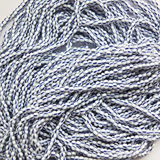 Seed Beads 11/0 Czech Striped Blue White Pinstripe (one Hank Pack)