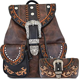 Western Style Tooled Buckle Women Country Backpack School Bag Concealed Carry Daypack Biker Purse Wallet