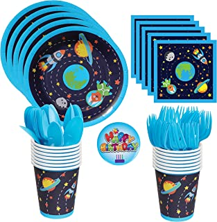 Astronaut and Outer Space/Solar System/Rocket Party Supplies- Includes Large Premium Strength Dinner Plates, Cups, Napkins, Forks and Spoons for 24 Guests with a Birthday pin
