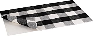 Buffalo Plaid Rug | Buffalo Check Outdoor Rug | Black and White Checkered Outdoor Rug | Front Door Mat | Porch, Kitchen & Indoor Rugs | Cotton Welcome Rug | Washable 24x36 Inches + Bonus Anti-Slip Mat