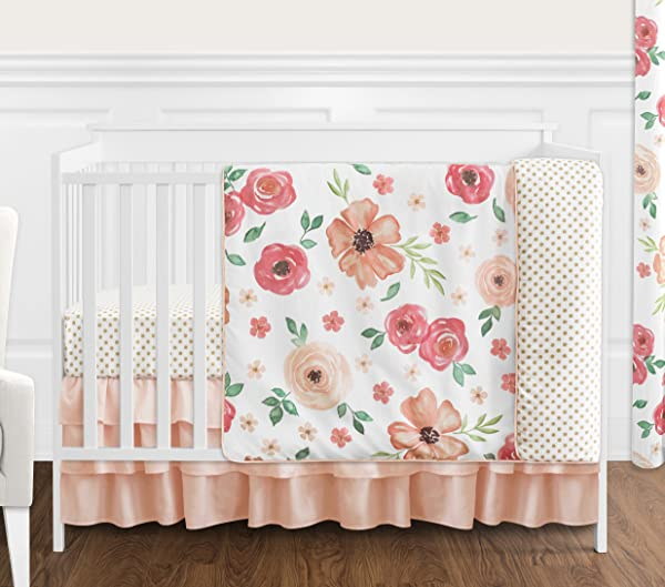Sweet Jojo Designs Peach And Green Shabby Chic Watercolor Floral Baby Girl Crib Bedding Set Without Bumper 4 Pieces Pink Rose Flower Polka Dot