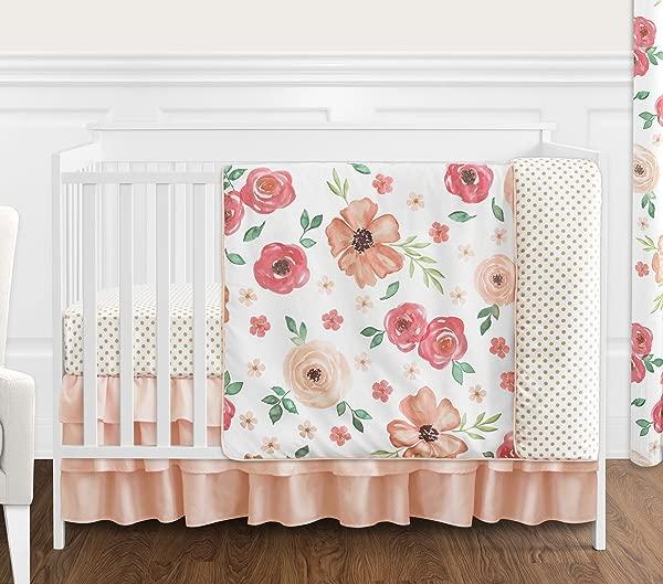 甜乔乔设计桃绿寒酸别致的水彩花卉女婴婴儿床床上用品一套不带杠月件粉红色的玫瑰花朵圆点