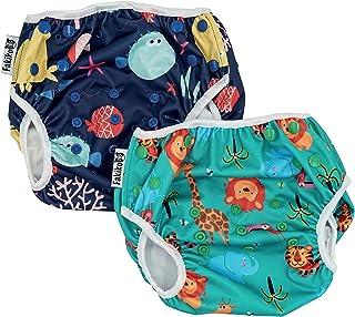 comprar comparacion fakiku - Pañal de natación ajustable, lavable y reutilizable, para piscina y mar, 2 unidades Verde Talla única
