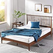 Zinus Double Bed Frame Linda Vertical Wooden Headboard | Nordic Platform Solid Wood Bed