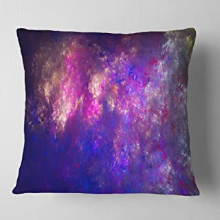 Designart Clear Purple Starry Fractal Sky' Abstract Throw Cushion Pillow Cover for Living Room, Sofa 18 in. x 18 in