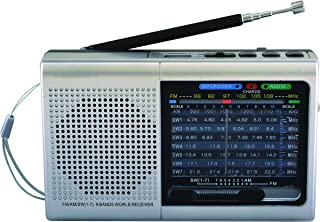 Supersonic 9 Band Bluetooth Radio with AM/FM and SW1-7, Sliver (SC-1080BT-Silver), 6.10in. x 3.50in. x 1.80in.