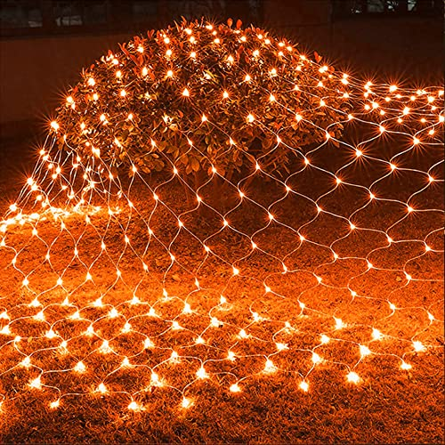 wholesale Twinkle Star 360 LEDs Halloween Net Lights, discount 12ft x 5ft 8 Modes sale Low Voltage Connectable Mesh Fairy Decorative String Lights for Christmas Trees, Bushes, Outdoor Garden Decorations (Orange) outlet sale