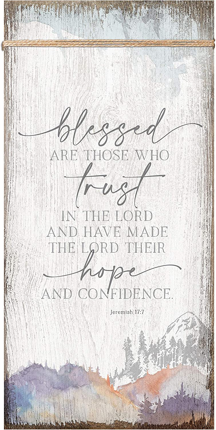 Trust in The Lord Wood Plaque Inspiring Quote 6 3/4 in x 13 5/8 in - Classy Vertical Frame Wall Hanging Decoration   Jeremiah 17:7   Christian Family Religious Home Decor Saying