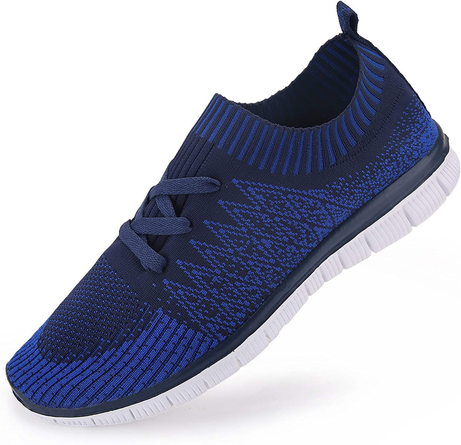 Vibdiv Men's shoes for Running Light Weight Lace-Up Flyknit Fashion Sneakers