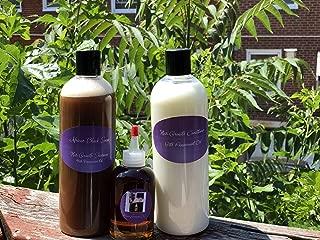Organic Hair Growth Oil Trio: African Black Soap Shampoo With Peppermint Oil (16oz), Hair Growth Conditioner (16oz), Organic Hair Growth Oil (4oz)