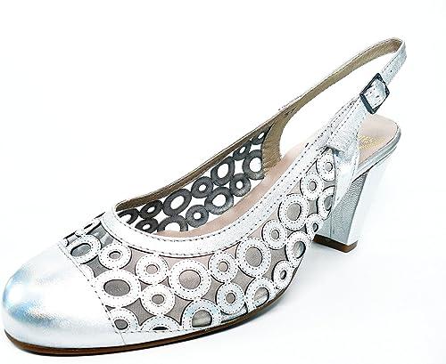 Zapato damen Vestir con Tacon en Piel Silber Combinado Rejilla de la Marca MIMAPIES, Cerrado Puntera - 8603-30