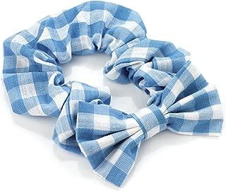 Blue Gingham Print With Bow Motif Hair Scrunchie Bobble Elastic Hair Band Tie