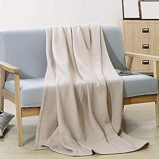 PuTian Australian Ultrasoft Merino Wool Blanket Silky Throw for Summer Lightweight Sandshell 77by49 inch