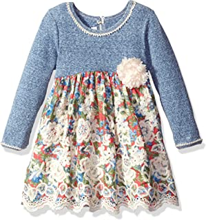 Girls' Knit Floral Printed Voile Scallop Border Dress