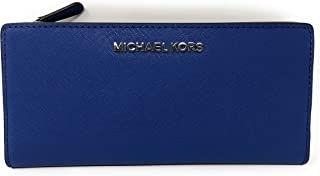 6b32a01331 Michael Kors Jet Set Travel Large Card Case Carryall Leather Wallet in  Sapphire Black