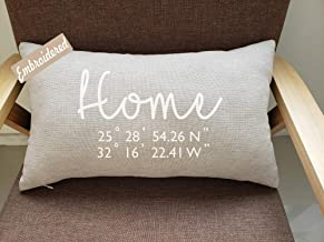 Rudransha Pillowcase Latitude Longitude Pillow Personalized Housewarming Gift House Warming Gift New Home Gift Our First Home Going Away Present Home Realty gift coordinates pillow closing gift